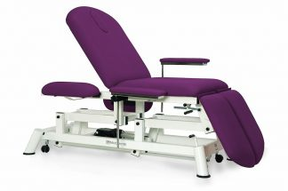 Electric treatment table - 3 sections - individual legrests - 4 armrests