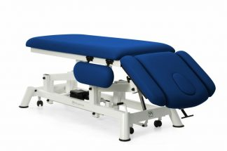 Electric treatment table for osteopati - 2 sections with 4 armrests and wheels - TwinPillar