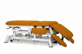 Hydraulic treatment table for osteopati - 3 sections with 4 armrests and wheels