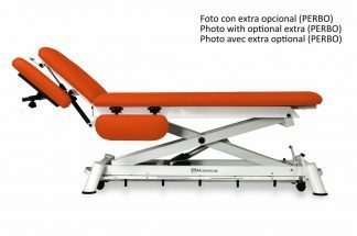 Electric treatment table for osteopati - 2 sections with armrests/wheels - Scissor lift