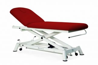 Electric treatment table - 2 sections with wheels - Scissor lift - Paper roll holder