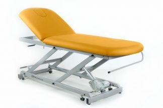 Electric treatment table - 2 sections with wheels - Twin Pillar