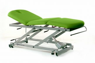 Electric treatment table - 3 sections with wheels - Central fold - Twin Pillar