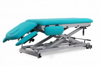 Electric treatment table for osteopati - 2 sections with 4 armrests and wheels