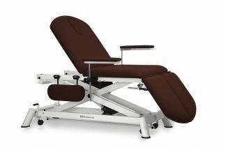Electric treatment table - 3 sections - 4 armrests - Wheels - Scissor lift