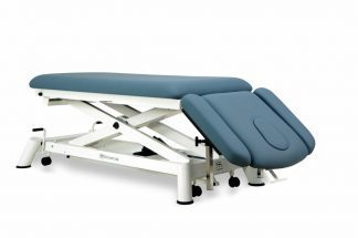 Electric treatment table for osteopati - 2 sections with armrests and wheels - Scissor lift