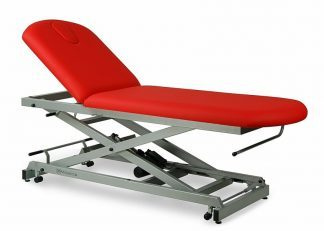 Electric treatment table - 2 sections with wheels - Scissor lift structure