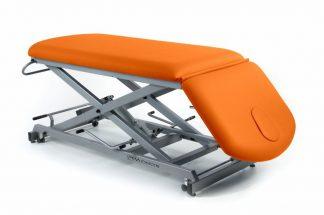 Hydraulic treatment table - 2 sections - Negative adjustment of backrest - Scissor lift - Wheels