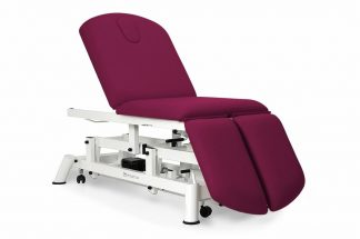 Electric treatment table - 3 sections with wheels - Individual legrests - Breathing hole