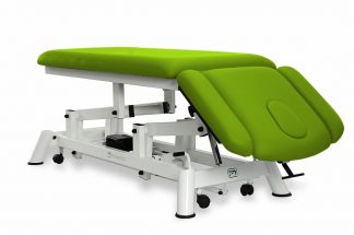 Electric treatment table for osteopati - 2 sections with 2 armrests and wheels