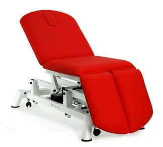Electric treatment table - 3 sections with wheels - Negative adjustment of backrest