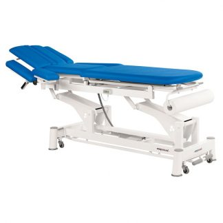 Electric treatment table - 3 sections with armrests and wheels - TwinPillar-lift