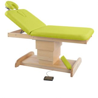 Electric treatment table / massage table - 2 sections with wooden base