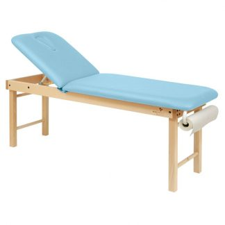 Stationary massage table - 2 sections with wooden base - Large and Adjustable backrest