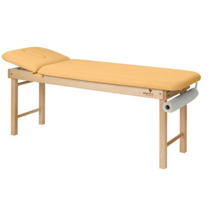 Stationary massage table - 2 sections with wooden base - Small and Adjustable backrest