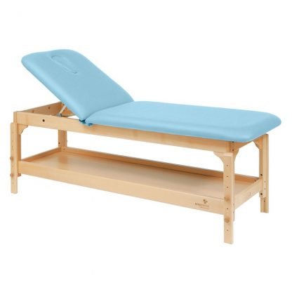 Stationary treatment table - 2 sections with wooden base - Adjustable - With storage