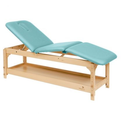 Stationary treatment table / massage table - 3 sections with wooden base - Adjustable - Storage