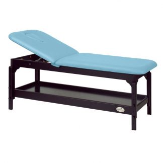 Stationary massage table - 2 sections with wooden base - Adjustable - Storage - Dark