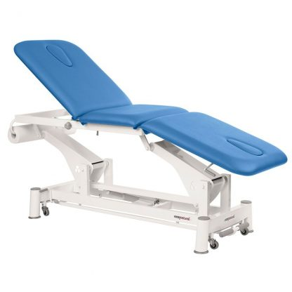 Electric treatment table - 3 sections with wheels - Face hole at both ends