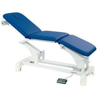 Electric treatment table - 3 sections with wheels - foot maneuvered