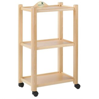 Wooden trolley with 3 shelves - Natural finish