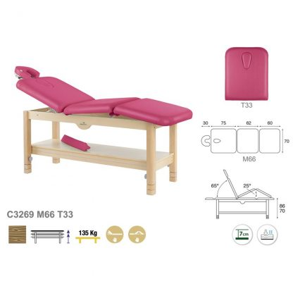 Stationary treatment table - 3 sections with wooden base - Manuell adjustment - Storage