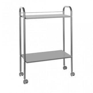 Wooden trolley with metal surface - 2 shelves