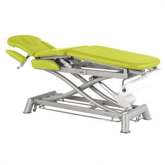 Electric treatment table - 3 sections with 4 armrests and wheels - Central fold