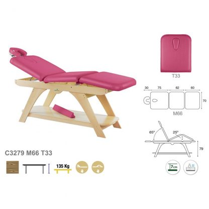 Stationary treatment table - 3 sections with wooden base - Manuell adjustment - Face rest