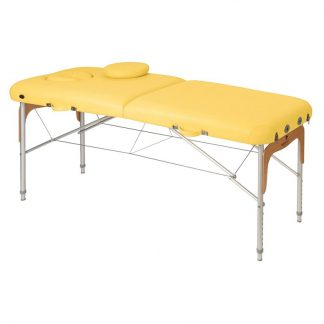 Foldable massage table (Alu) - 2 sections - 186x70cm - Adjustable - Wooden details