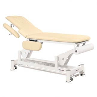 Electric treatment table - 2 sections with 4 armrests and wheels - TwinPillar-lift