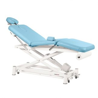 Electric treatment table - 3 sections with wheels - Scissor lift - Central fold