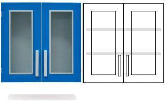 Wall cabinet - ISO-modul - 2 glass doors and 2 adjustable shelves