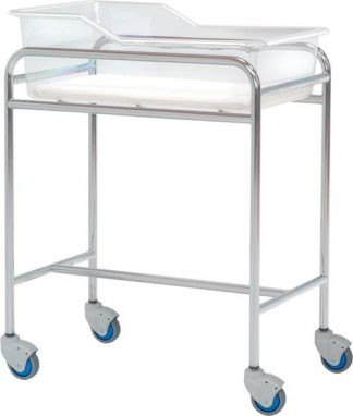Infant bed with wheels for neonatology - Chromed steel structure - 80x48x85 cm