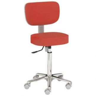 Chair with backrest - Aluminium base - Height: 55-74 cm