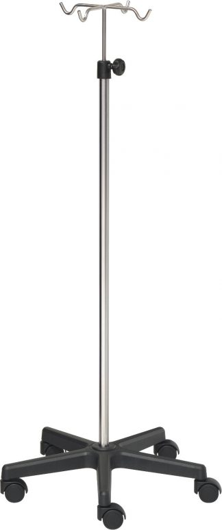 IV-pole - 4 hooks - Stainless steel - Extra Large base made out of black PVC