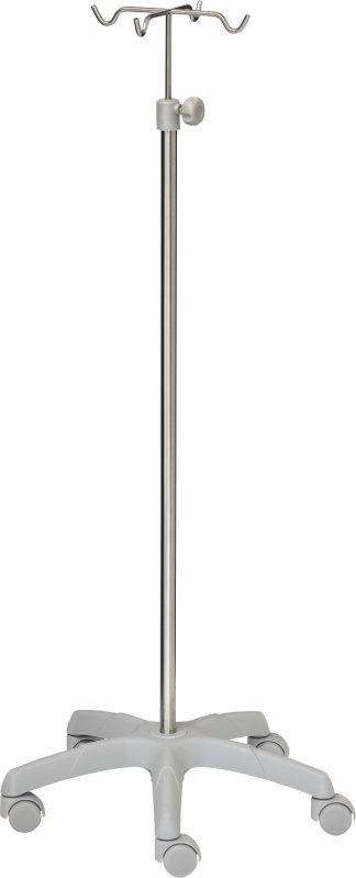 IV-pole - 4 hooks - Stainless steel - Extra Large aluminium base