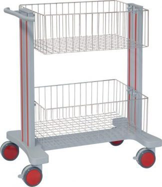 Multifunctional hospital trolley with 2 baskets