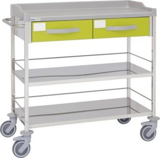 Multifunctional hospital trolley with 3 shelves - 2 drawers - 100 cm wide