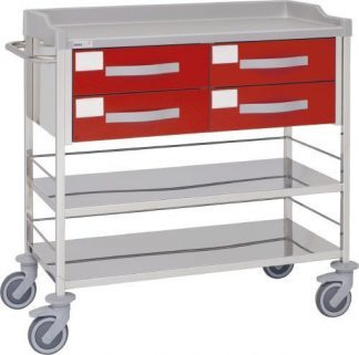 Multifunctional hospital trolley with 3 shelves - 4 drawers