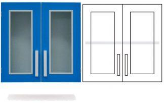 Wall cabinet - ISO-modul - 2 glass doors and 1 adjustable shelf