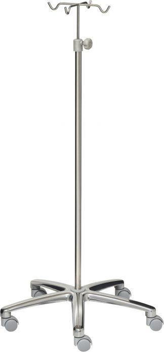IV-pole - 4 hooks - Stainless steel - 640 mm aluminium base - grey wheels