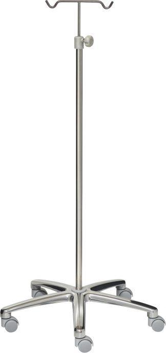 IV-pole - 2 hooks - Stainless steel - 640 mm aluminium base - grey wheels