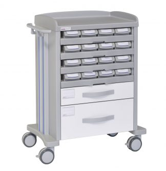 Medicine trolley - 16 medicine drawers - 2 large drawers