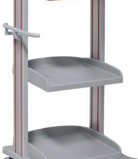 Hospital trolley with 3 shelves - 1 drawer - Epoxy coating - Height 128 cm