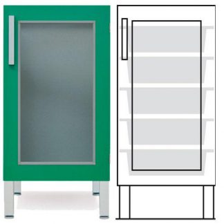 Floor cabinet - ISO-modul - 1 glass wall and 5 baskets