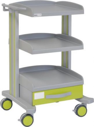 Hospital trolley with 3 shelves - 1 drawer - Epoxy coating - Drawer