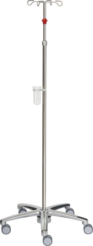 IV-pole and infusion pump - 4 hooks - Stainless steel - Tub 25/18 mm