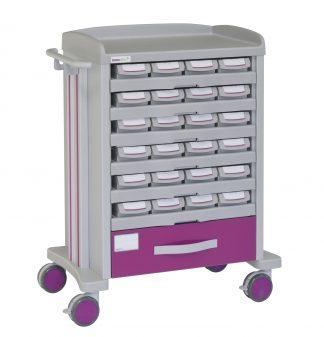 Medicine trolley - 24 medicine drawers - 1 drawer