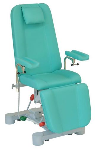 Hydraulic sampling chair with wheels and adjustable armrests